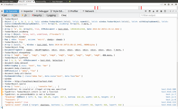 Screen shot of the Web Console in Firefox 30 showing syntax highlighting for object previews.