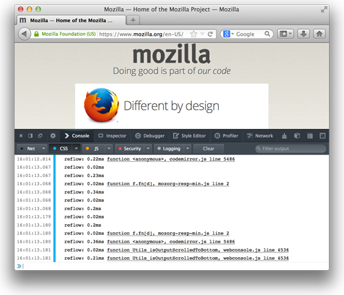 Screen shot of the Web Console in Firefox 27 showing reflow logging.